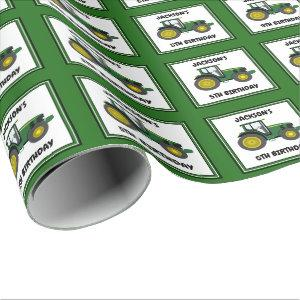 Green Tractor Personalized Wrapping Paper