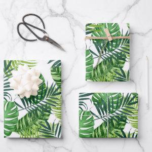 Green Tropical Leaves Wrapping Paper Sheets