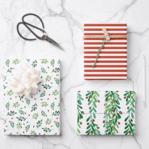 Green Twigs & Red Berries Christmas Patterns Wrapping Paper Sheets