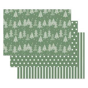 Green White Christmas Trees Polka Dots Stripe Wrapping Paper Sheets