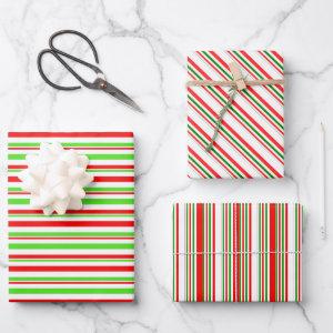 Green, White, Red Christmas-Inspired Lines Wrapping Paper Sheets