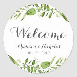 Green Wreath Wedding Welcome Stickers, Rustic Leaf Classic Round Sticker