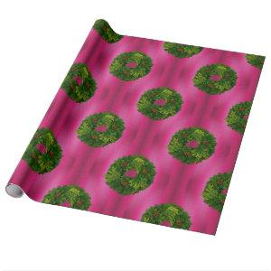 Green Wreaths on Pink Christmas Wrapping Paper