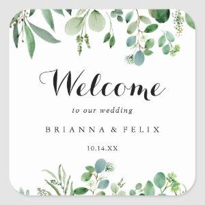 Greenery Eucalyptus Calligraphy Wedding Welcome Square Sticker