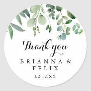 Greenery Eucalyptus Thank You Wedding Favor Classic Round Sticker