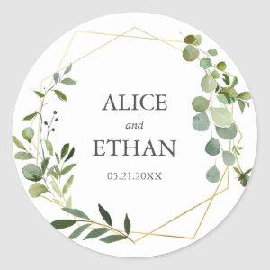 Greenery Geometric Wedding Classic Round Sticker