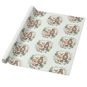 Greenery Gold Woodland Forest Baby Animals Wrapping Paper