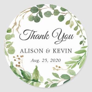 Greenery Leaves Wreath Wedding Favor Thank You Classic Round Sticker