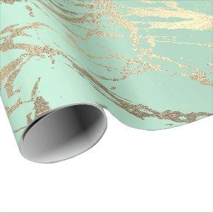 Greenery Mint Pastel Gold Marble Shiny Abstract Wrapping Paper