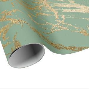 Greenery Mint Sage Gold Marble Shiny Glam Wrapping Paper