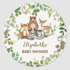 Greenery Woodland Baby Animals Thank You Favors Classic Round Sticker