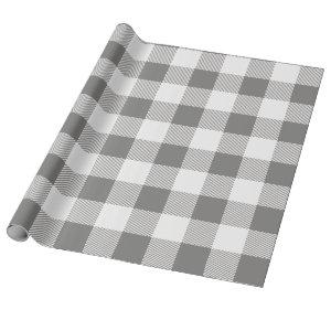 Grey and White Buffalo Plaid Wrapping Paper