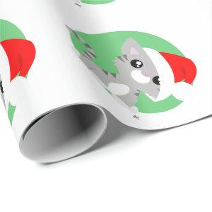 Grey Christmas Kitty Wrapping Paper