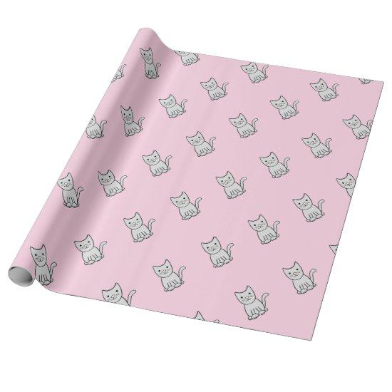 Grey Kitty Cats Wrapping Paper