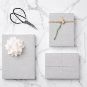 Grey Linen Wrapping Paper Sheets
