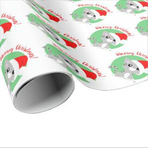 Grey Meowy Christmas Kitty Wrapping Paper