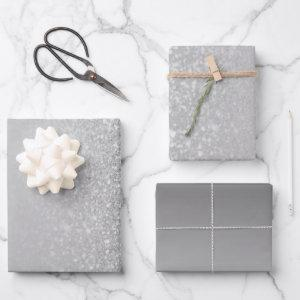 Grey Silver Faux Glitter Ombre Mix Wrapping Paper Sheets