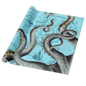 Grey Tentacles On Blue Vintage Map Wrapping Paper
