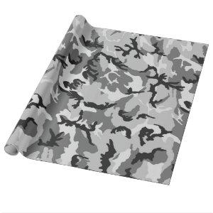 Grey White Black Camouflage Wrapping Paper