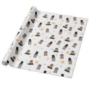 Groundhog Day Pattern Wrapping Paper