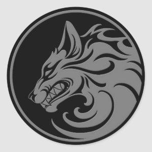 Growling Grey and Black Wolf Circle Classic Round Sticker