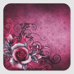 grunge botanical floral magenta pink Rose Square Sticker