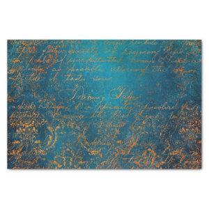 Grunge Copper Patina and Turquoise Calligraphy Tissue Paper