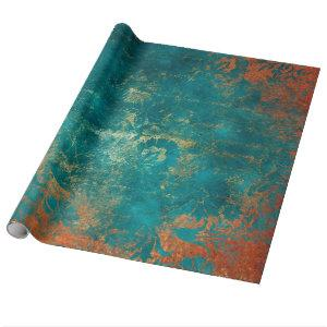 Grunge Copper Patina and Turquoise Damask Wrapping Paper