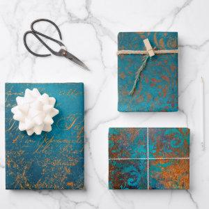 Grunge Copper Patina and Turquoise Wrapping Paper Sheets