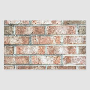 Grunge Red Brick Wall Brown Bricks Background Tan Rectangular Sticker