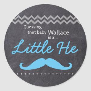 """Guessing baby Boy"" - ""Little He"" Gender Reveal Classic Round Sticker"