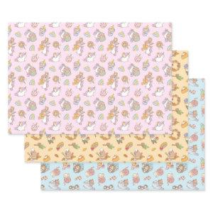Guinea pig and capybara pattern set of three wrapping paper sheets
