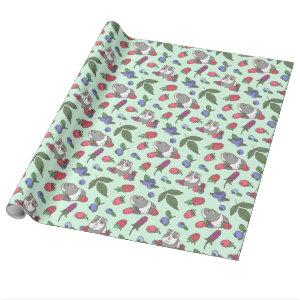 Guinea Pigs and Berries Pattern in Mint Green Wrapping Paper