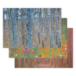 Gustav Klimt Beech Tree Forest Grove Wrapping Paper Sheets