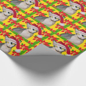 Hairless Sphynx Cat Santa Hat Christmas Holiday Wrapping Paper