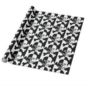 Halloween black and white skull wrapping paper