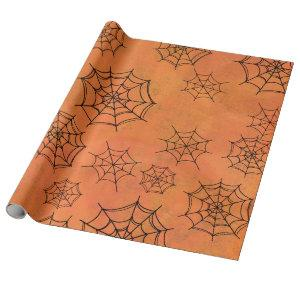 Halloween Black Spider Webs Orange Wrapping Paper