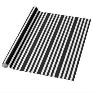 Halloween Black White Striped Gift Wrapping Paper