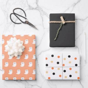Halloween Cute Ghosts Black and Orange Wrapping Pa  Sheets