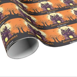 Halloween Haunted House Personalized Name Birthday Wrapping Paper
