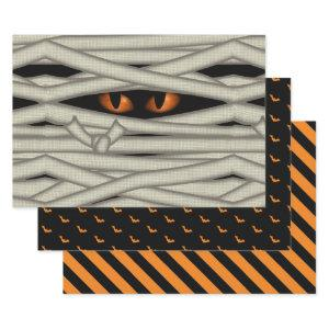 Halloween Mummy Eyes/Bats/Stripes Orange ID685 Wrapping Paper Sheets