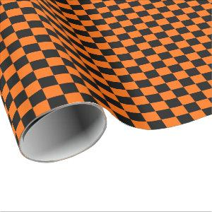 Halloween Orange and Black Checkered Wrapping Paper