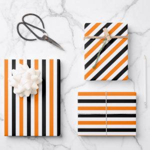 Halloween Orange Black White Stripes Pattern Gift Wrapping Paper Sheets