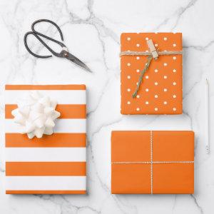Halloween Orange Polka Dot Wide Striped and Solid Wrapping Paper Sheets