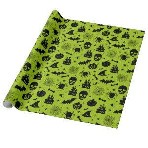 Halloween Pattern Green and Black Wrapping Paper