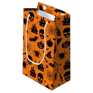 Halloween Pattern Orange and Black Small Gift Bag