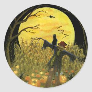 Halloween scarecrow in pumpkin patch stickers