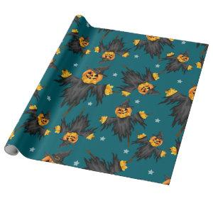 Halloween Scarecrow Pumpkins Vintage Pattern Wrapping Paper