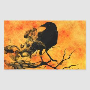 Halloween Scary Scene 11 The Raven Rectangular Sticker