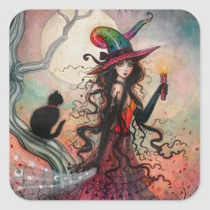 Halloween Witch and Black Cat Fantasy Art Square Sticker